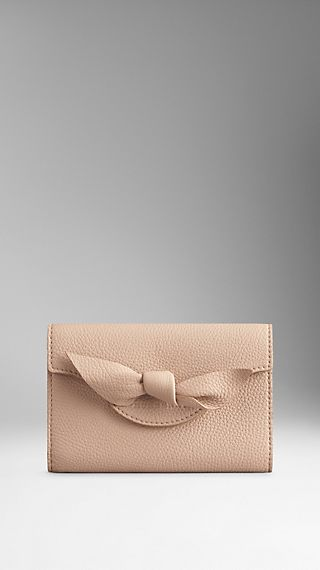 Knot-Detail Grainy Leather Continental Wallet