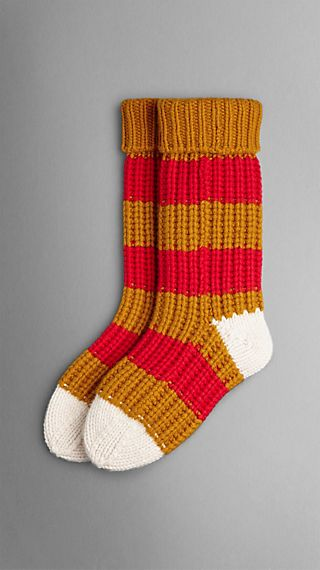 Striped Knitted Cashmere Socks