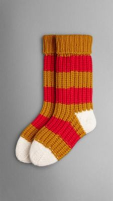 Knitting Pattern For Cashmere Socks : Striped Knitted Cashmere Socks Burberry