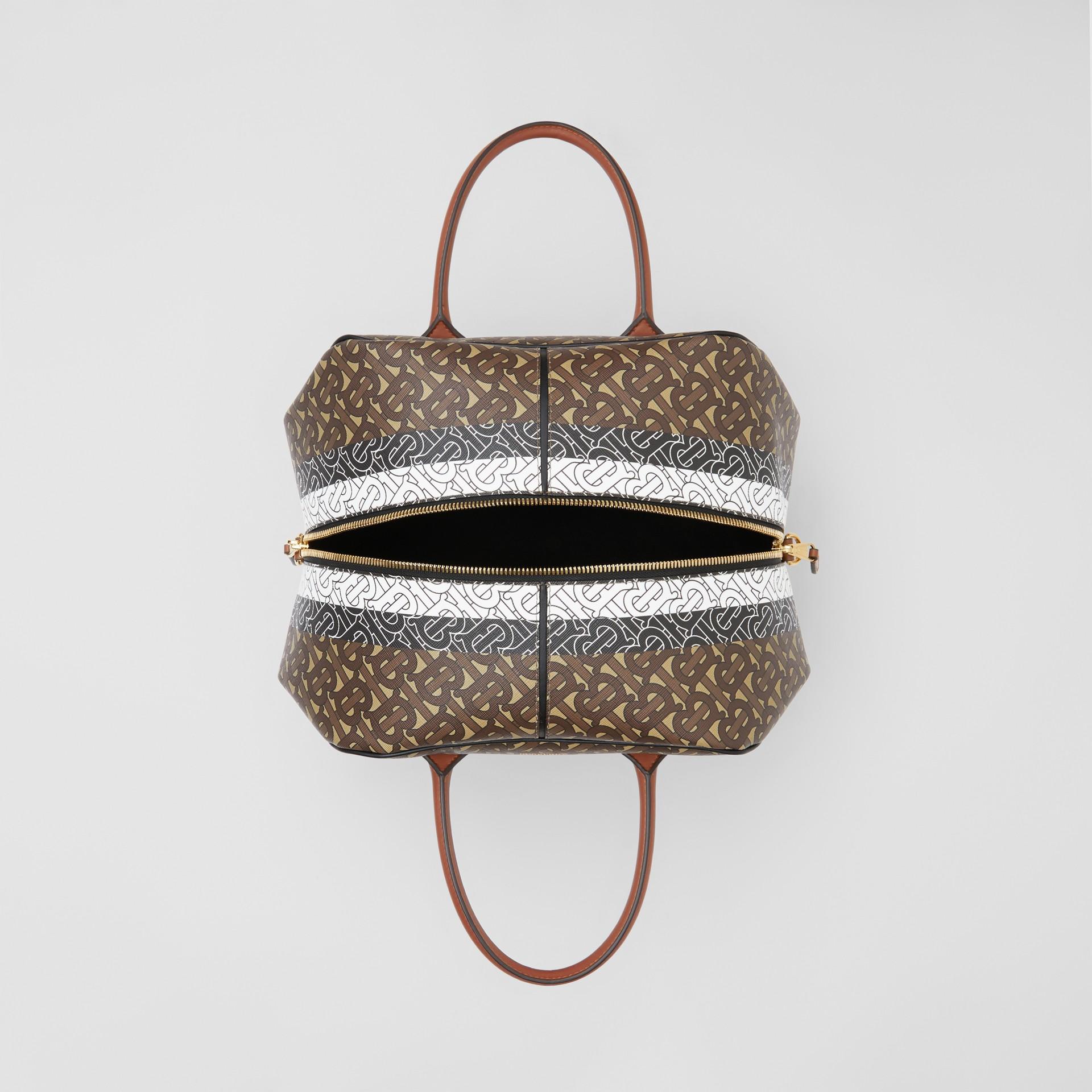 Medium Monogram Stripe E-canvas Cube Bag in Bridle Brown - Women | Burberry - gallery image 4