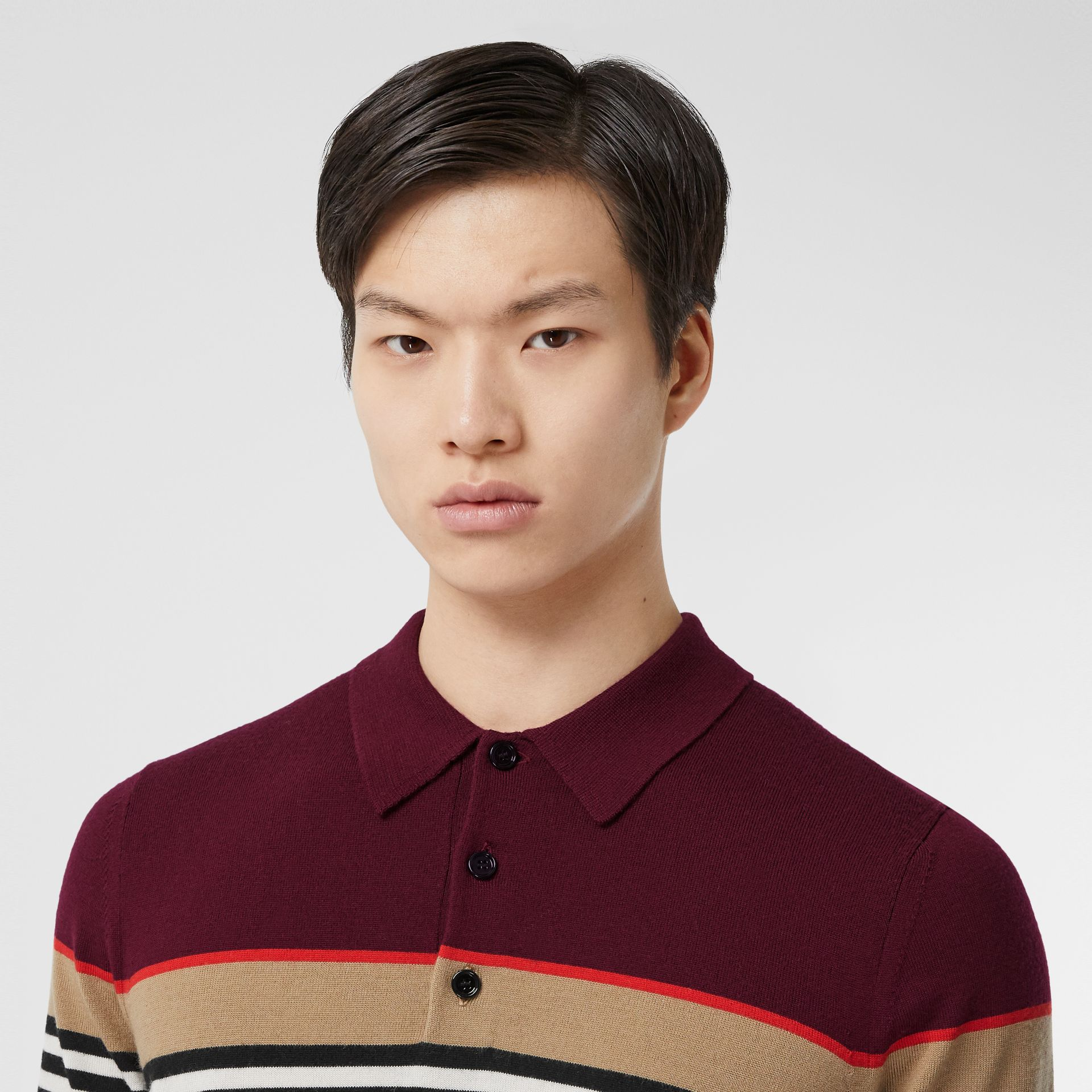 Icon Stripe Detail Merino Wool Polo Shirt in Deep Merlot - Men | Burberry - gallery image 1
