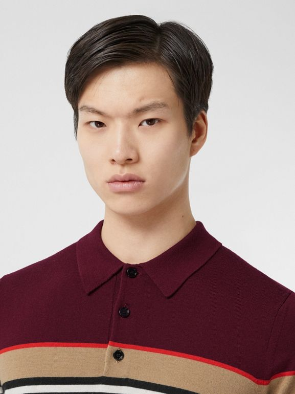 Icon Stripe Detail Merino Wool Polo Shirt in Deep Merlot - Men | Burberry - cell image 1