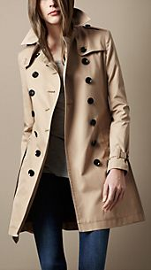 Trench-coat mi-long en popeline de coton
