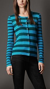 Striped Silk Linen Cardigan