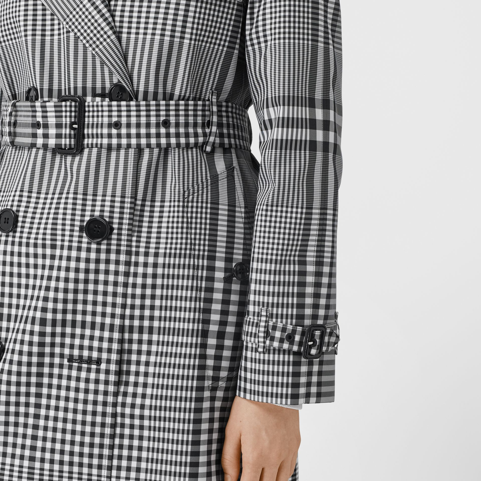 Check Twill Trench Coat in Black/white - Women | Burberry United States - gallery image 4