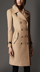 Leather Detail Wool Cashmere Coat
