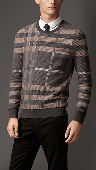 Check Wool Silk Sweater
