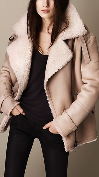 Oversize Shearling Aviator Jacket