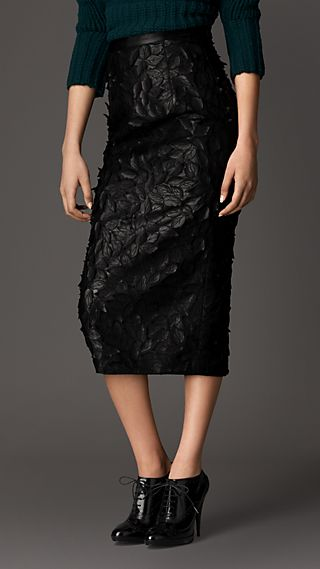 Textured Leather Leaf Appliqué Pencil Skirt