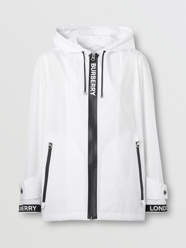 Logo Tape ECONYL® Hooded Jacket in Optic White - Women | Burberry Singapore - cell image 3
