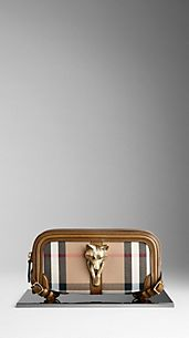 Clutch en house check à bride orné d'une tête d'animal