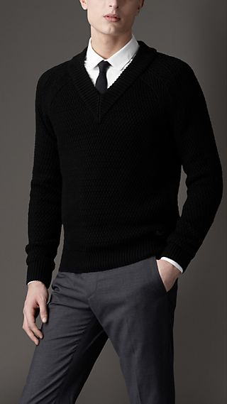 Wool Silk Ribbed Knit Sweater