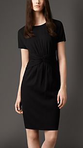 Twist Waist Detail Silk Dress