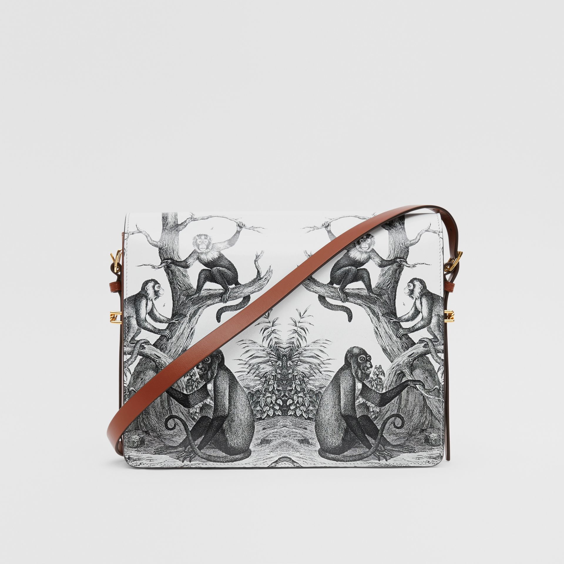 Large Monkey Print Leather Grace Bag in Black/white - Women | Burberry - gallery image 7
