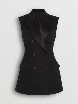 无袖弹力羊毛双排扣外套