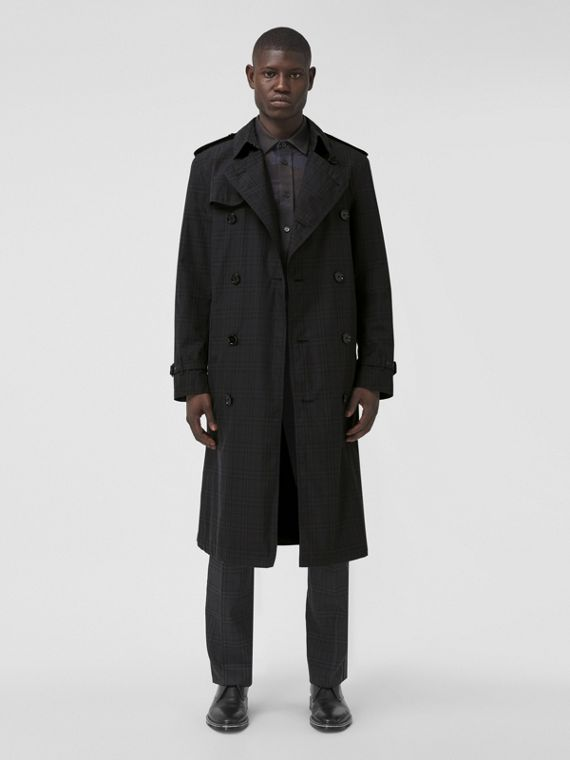 Check Cotton Trench Coat in Dark Charcoal