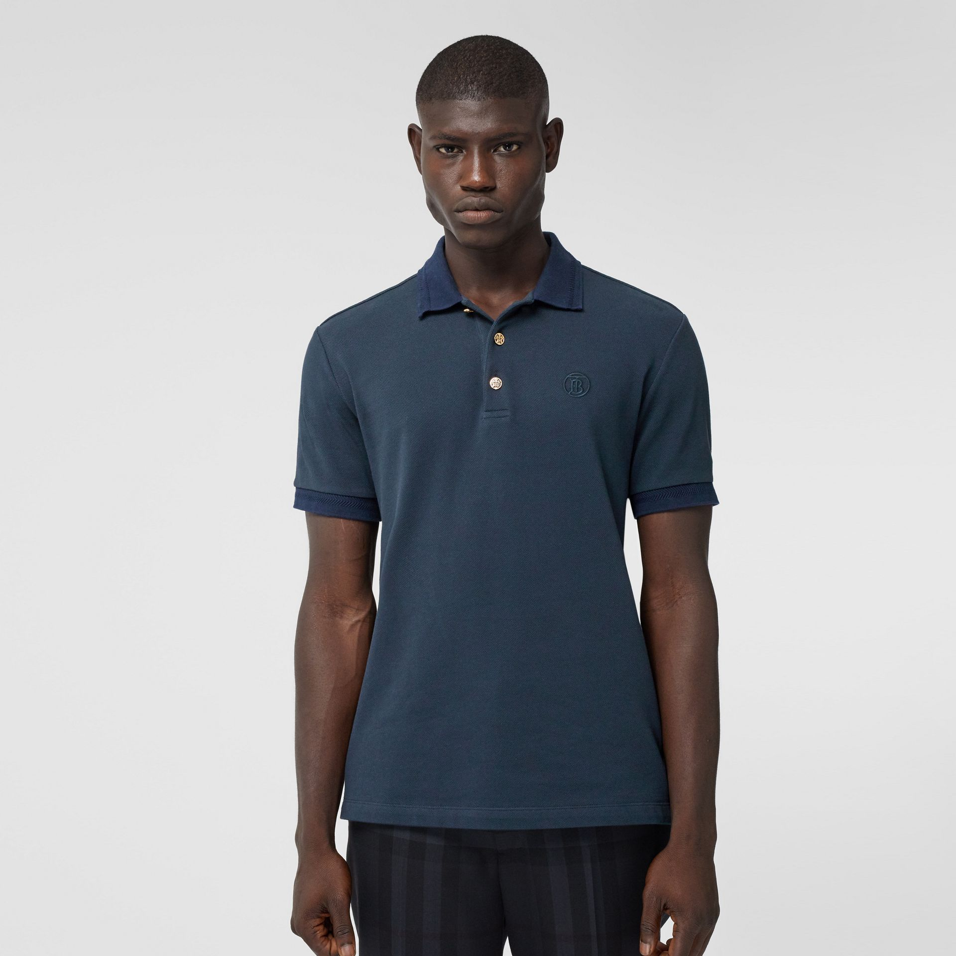 Button Detail Cotton Piqué Polo Shirt in Navy - Men | Burberry - gallery image 0