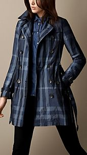 Short Metallic Check Trench Coat