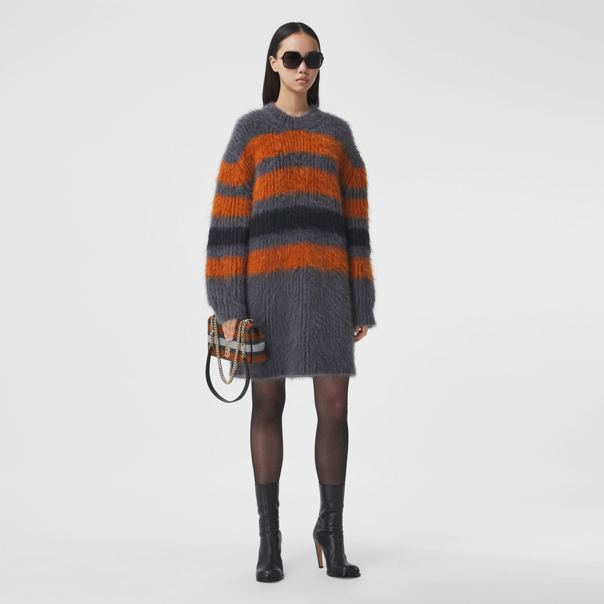 Stripe Intarsia Mohair Silk Oversized Sweater in Dark Grey Melange - Women | Burberry - gallery image 5