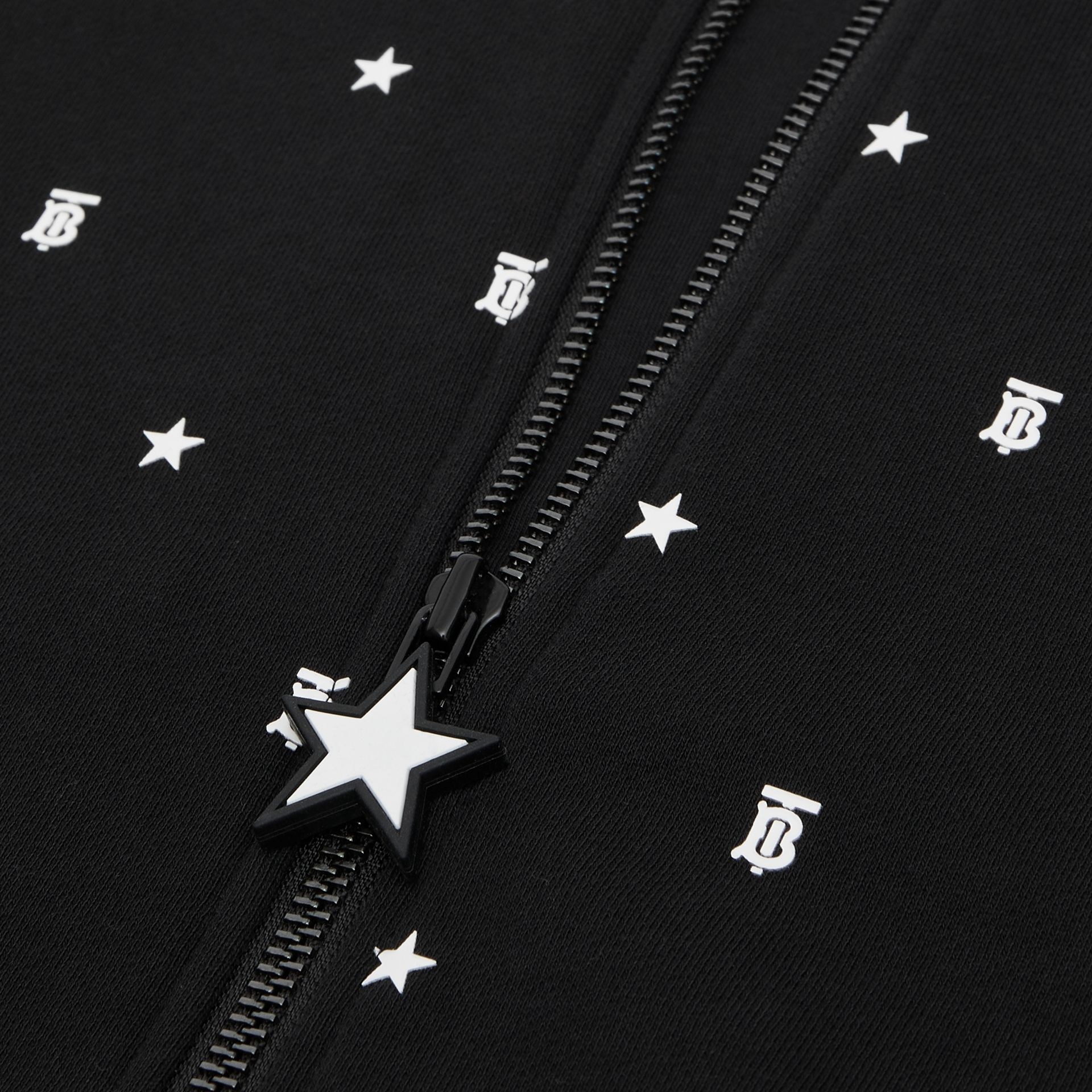 Star and Monogram Motif Cotton Hooded Top in Black | Burberry - gallery image 1