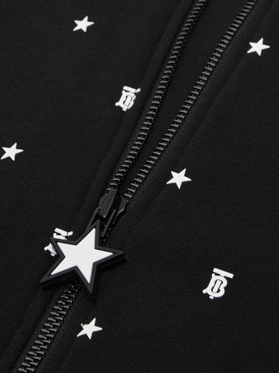 Star and Monogram Motif Cotton Hooded Top in Black | Burberry - cell image 1