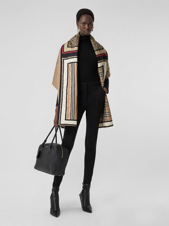 Montage Print Silk-lined Wool Cashmere Cape in Archive Beige