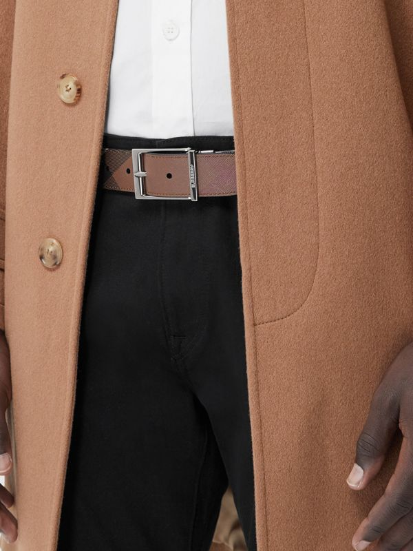 Reversible Check E-canvas and Leather Belt in Dark Birch Brown/black - Men | Burberry - cell image 2