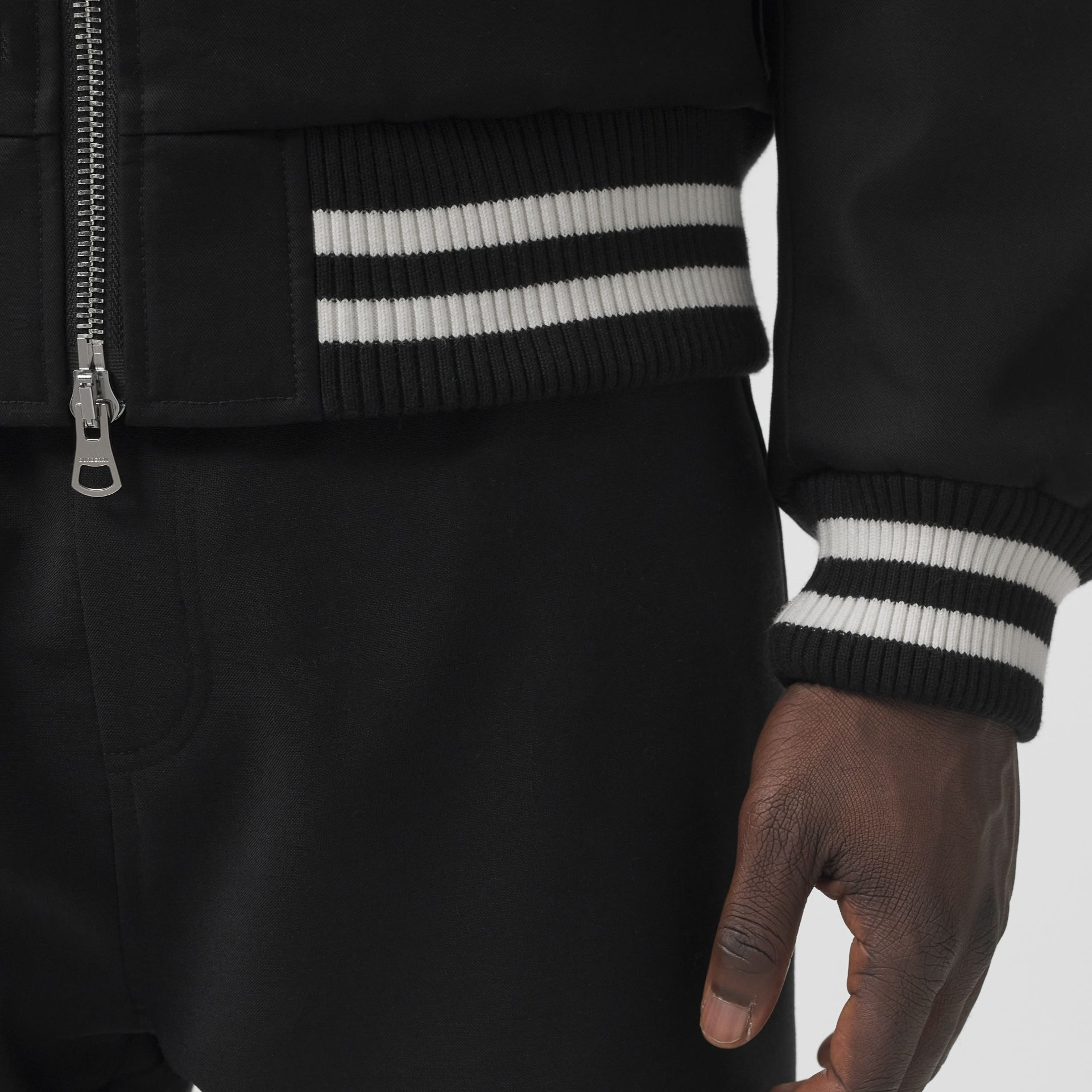 Embroidered Logo Cotton Gabardine Bomber Jacket in Black - Men | Burberry - gallery image 4