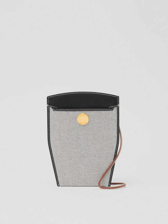 Tri-tone Canvas and Leather Society Phone Case in Black/tan