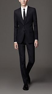 Slim Fit Cotton Pinstripe Suit