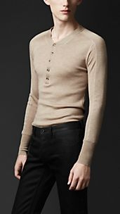Contrast Panel Wool Silk Henley