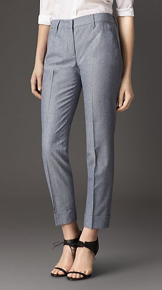 Pintuck Detail Wool Silk Trousers