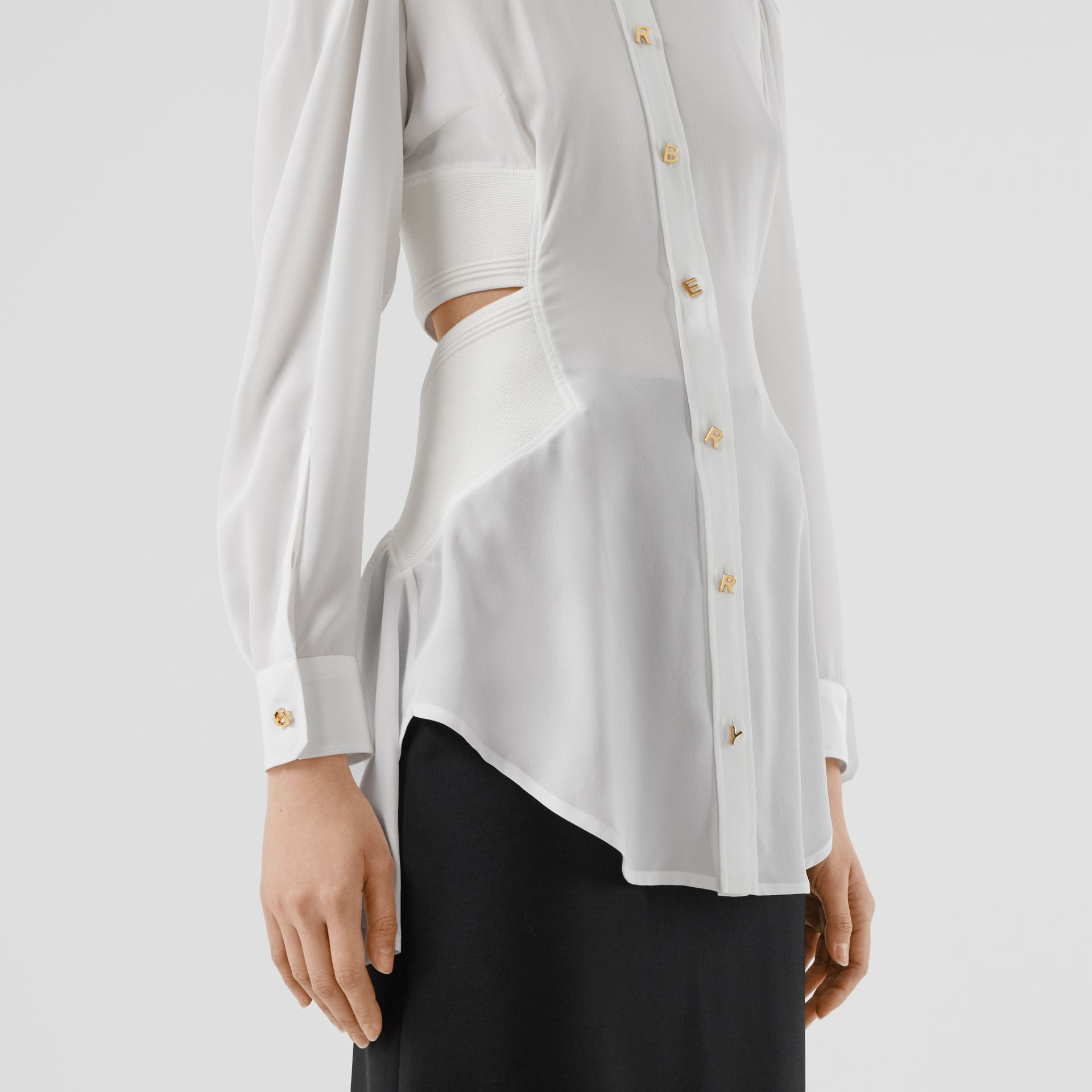 Logo Detail Cut-out Silk Shirt in Optic White - Women | Burberry - gallery image 4