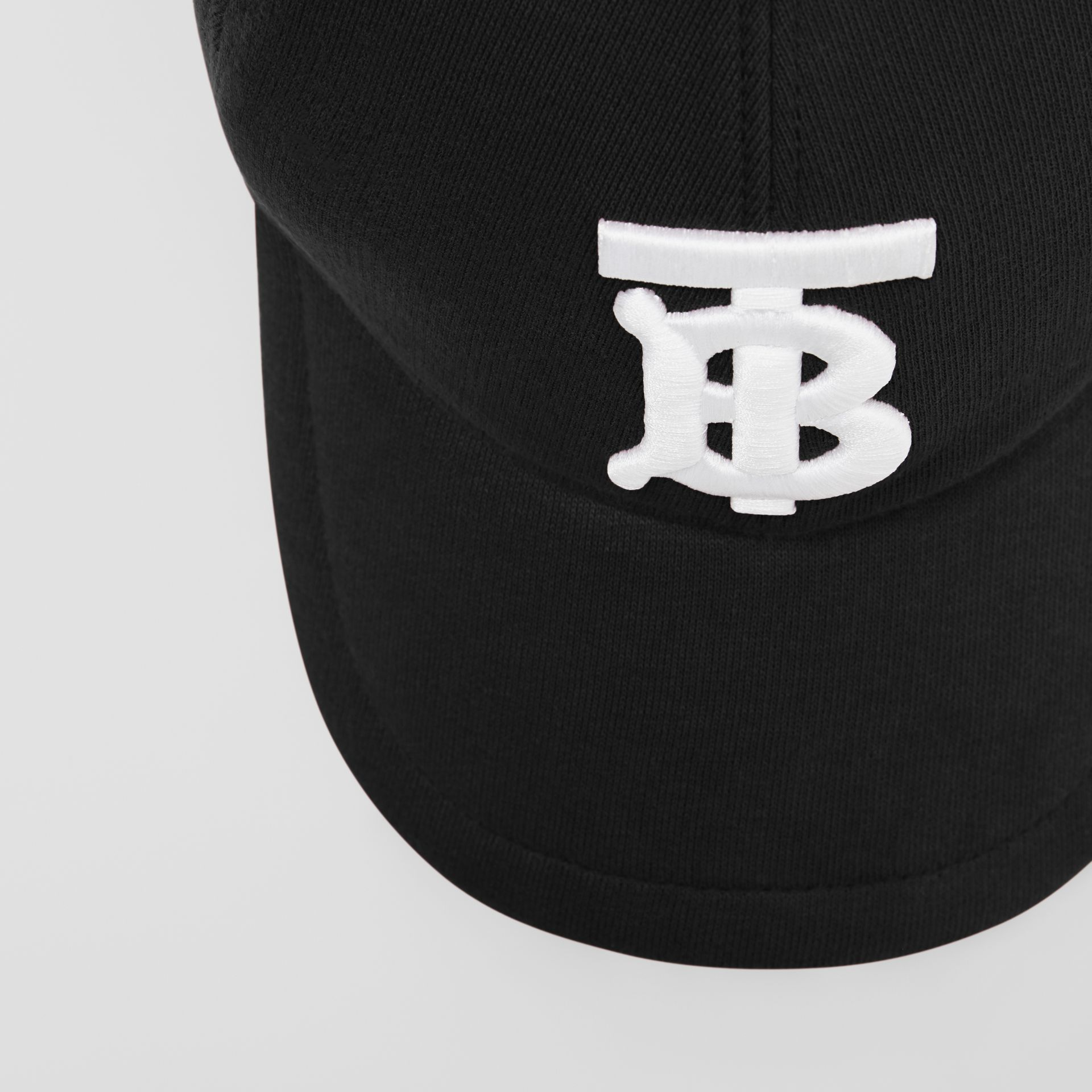 Monogram Motif Cotton Jersey Baseball Cap in Black | Burberry - gallery image 1