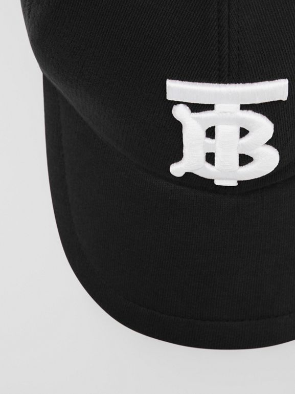 Monogram Motif Cotton Jersey Baseball Cap in Black | Burberry - cell image 1