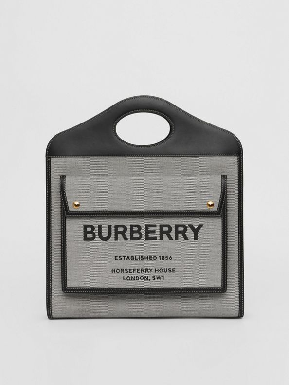 Mini Tri-tone Canvas and Leather Pocket Bag in Black/tan