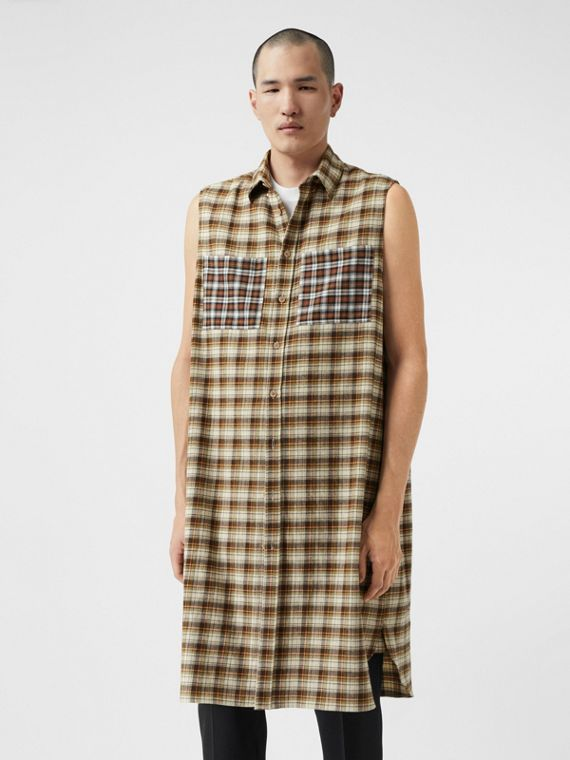 Sleeveless Check Cotton Flannel Tunic Shirt in Dark Olive