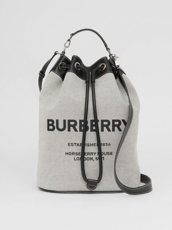 Horseferry Print Cotton Canvas Drawcord Tote in Black