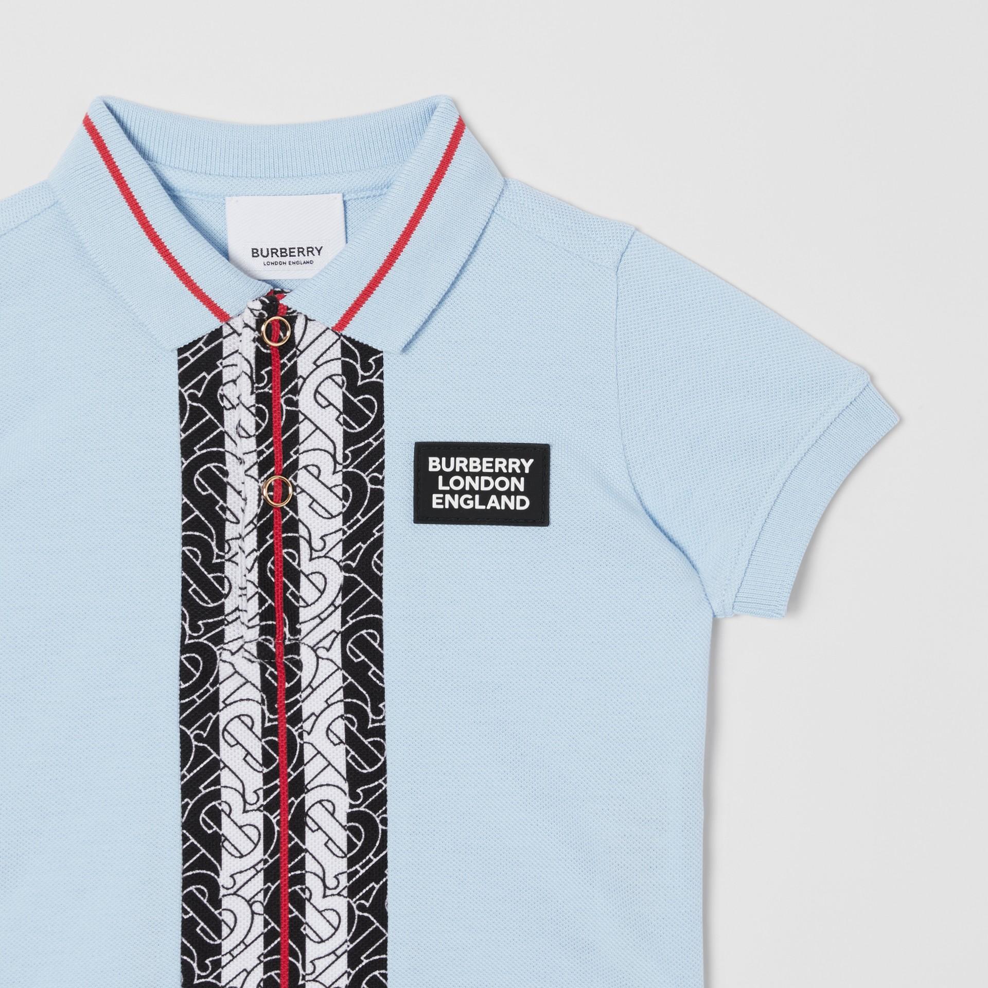 Monogram Stripe Print Cotton Piqué Polo Shirt in Pale Blue - Children | Burberry - gallery image 4