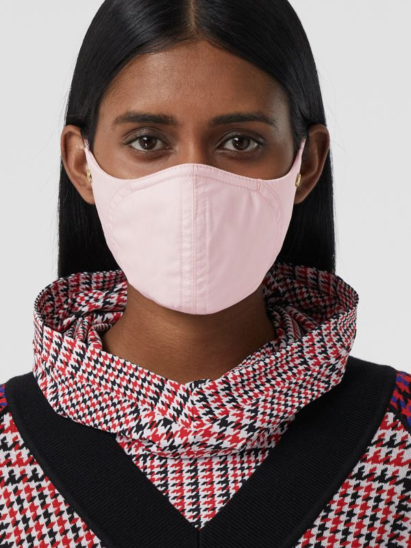 Logo Detail Cotton Face Mask in Alabaster Pink | Burberry - cell image 2