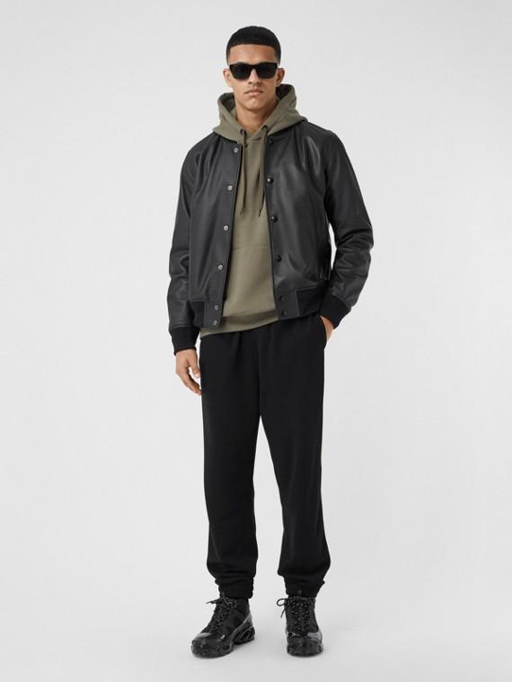 Куртка «пилот» из кожи ягненка с вышитым логотипом (Черный)