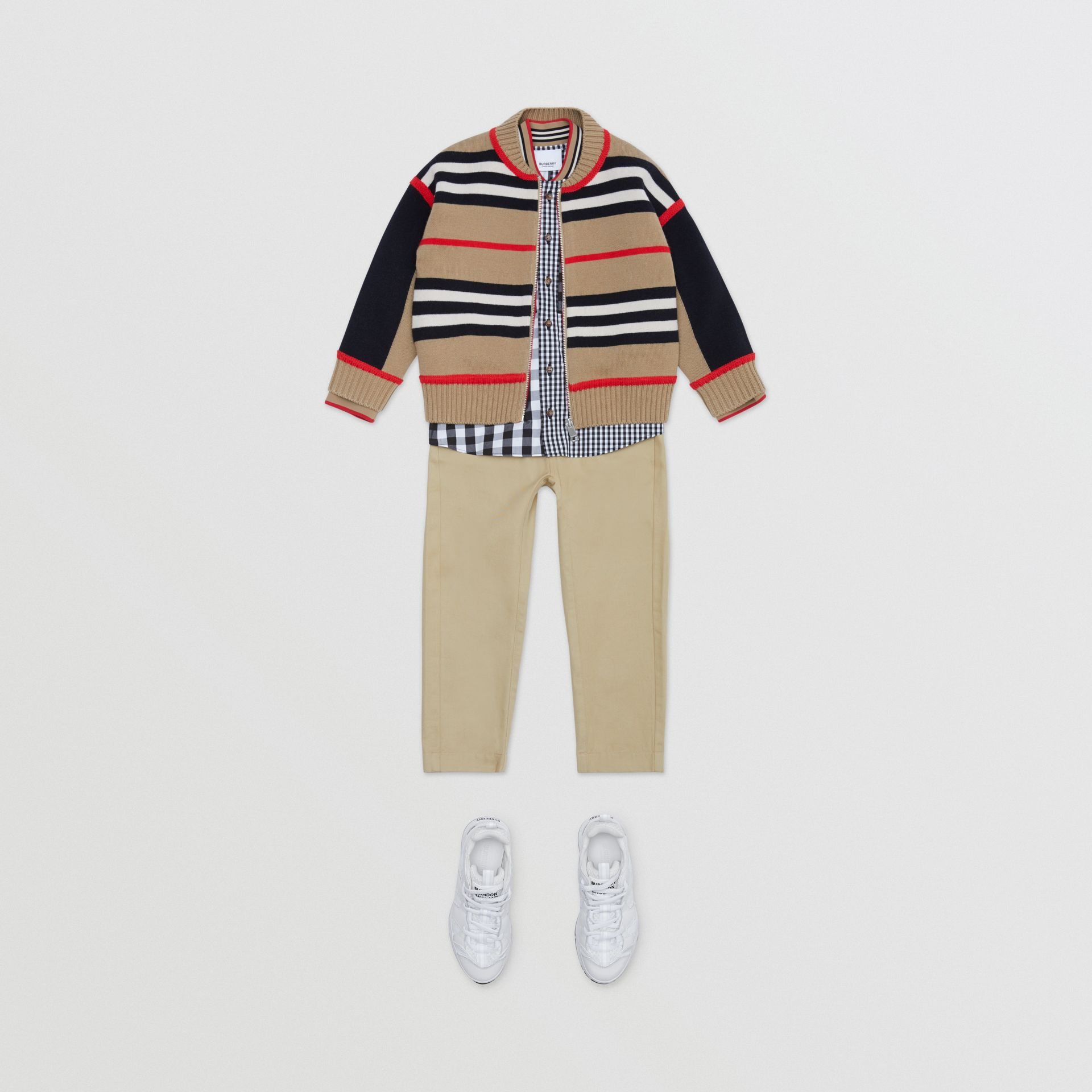 Icon Stripe Detail Cotton Twill Drawcord Trousers in Honey   Burberry United Kingdom - gallery image 3