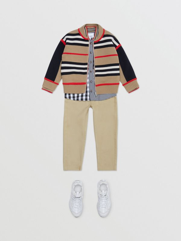 Icon Stripe Detail Cotton Twill Drawcord Trousers in Honey   Burberry United Kingdom - cell image 3