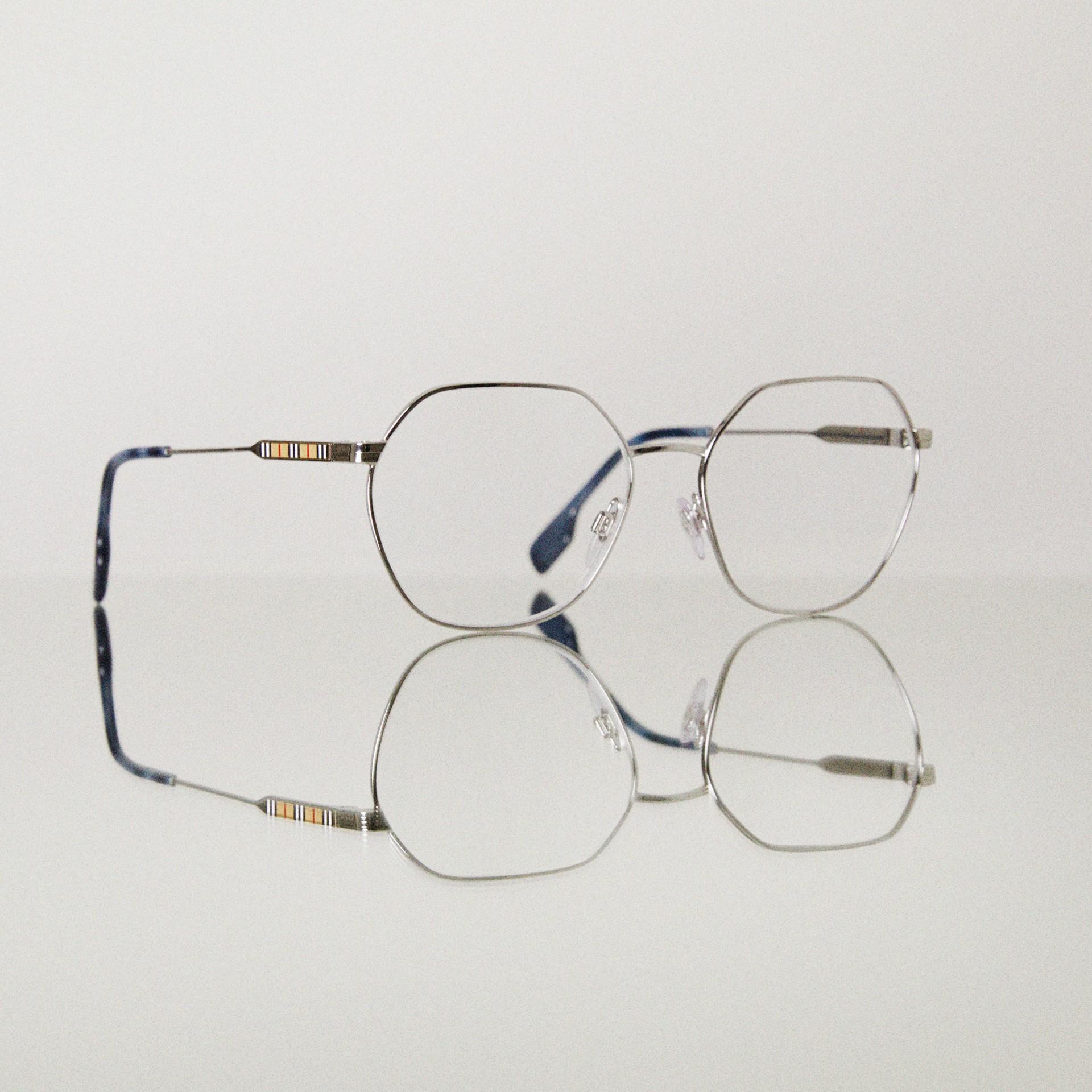 Geometric Optical Frames in Grey Tortoiseshell - Women | Burberry - gallery image 5