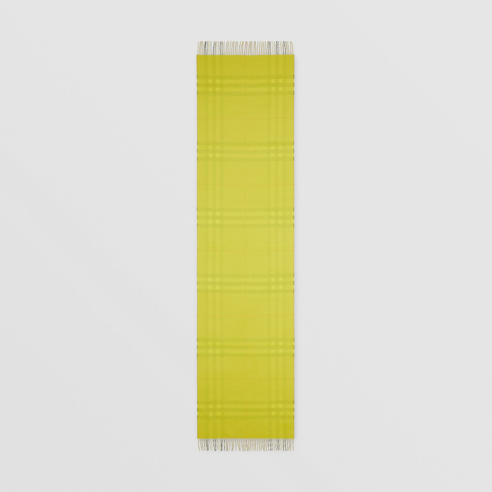 Reversible Check Cashmere Scarf in Yellow | Burberry - gallery image 8