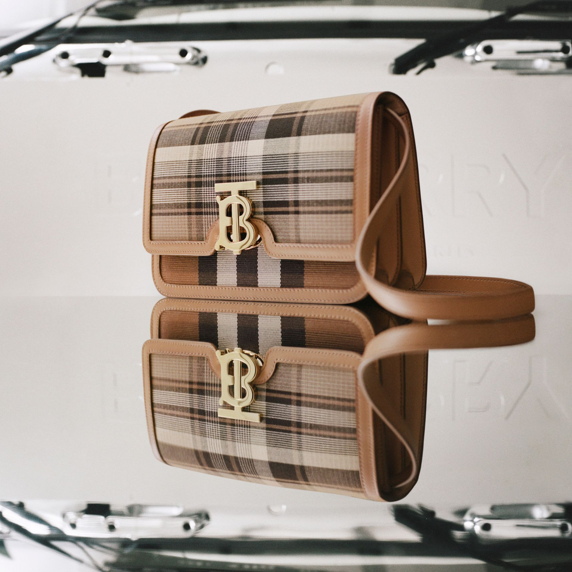 Small Tartan Wool and Leather TB Bag in Light Fawn - Women | Burberry - gallery image 1