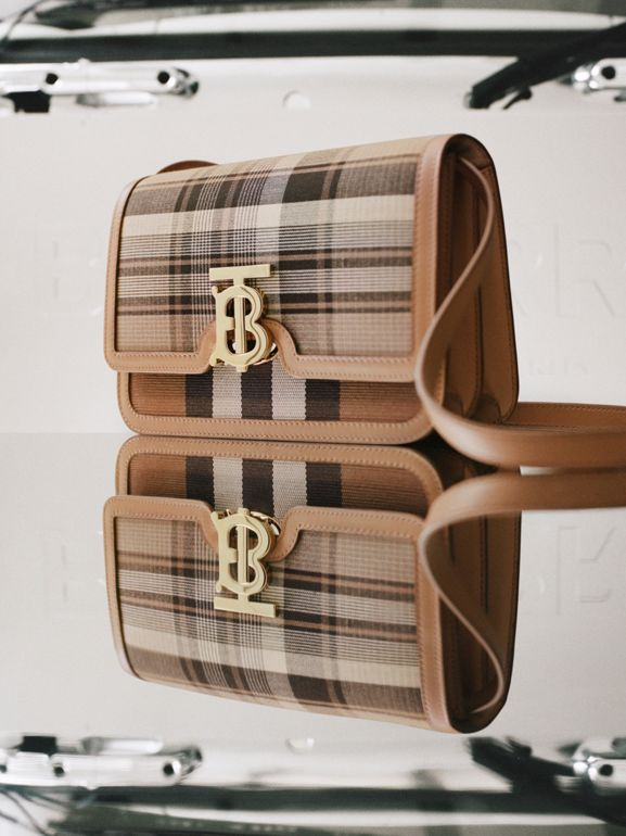 Small Tartan Wool and Leather TB Bag in Light Fawn - Women | Burberry - cell image 1
