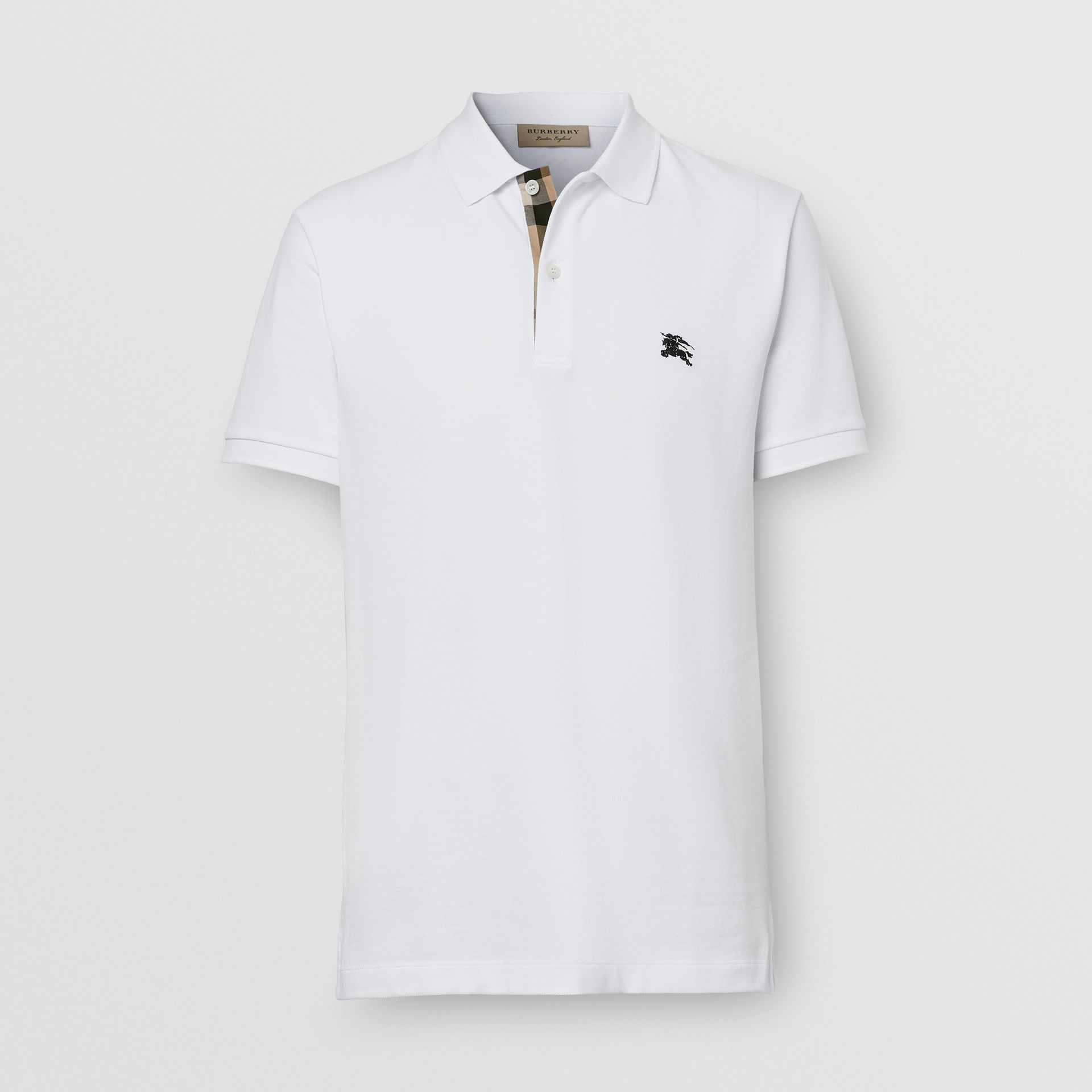 Check Placket Cotton Piqué Polo Shirt in White - Men | Burberry - gallery image 0