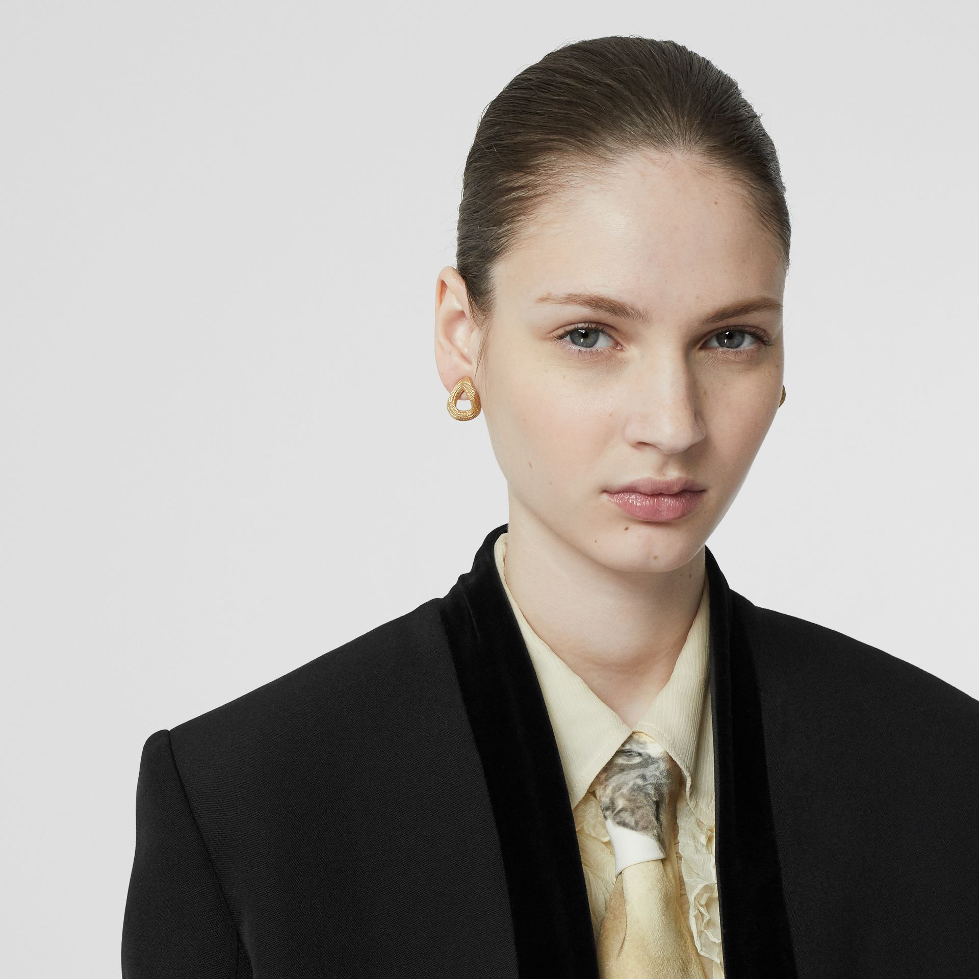 Velvet Detail Wool Tailored Jacket in Black - Women | Burberry - gallery image 6