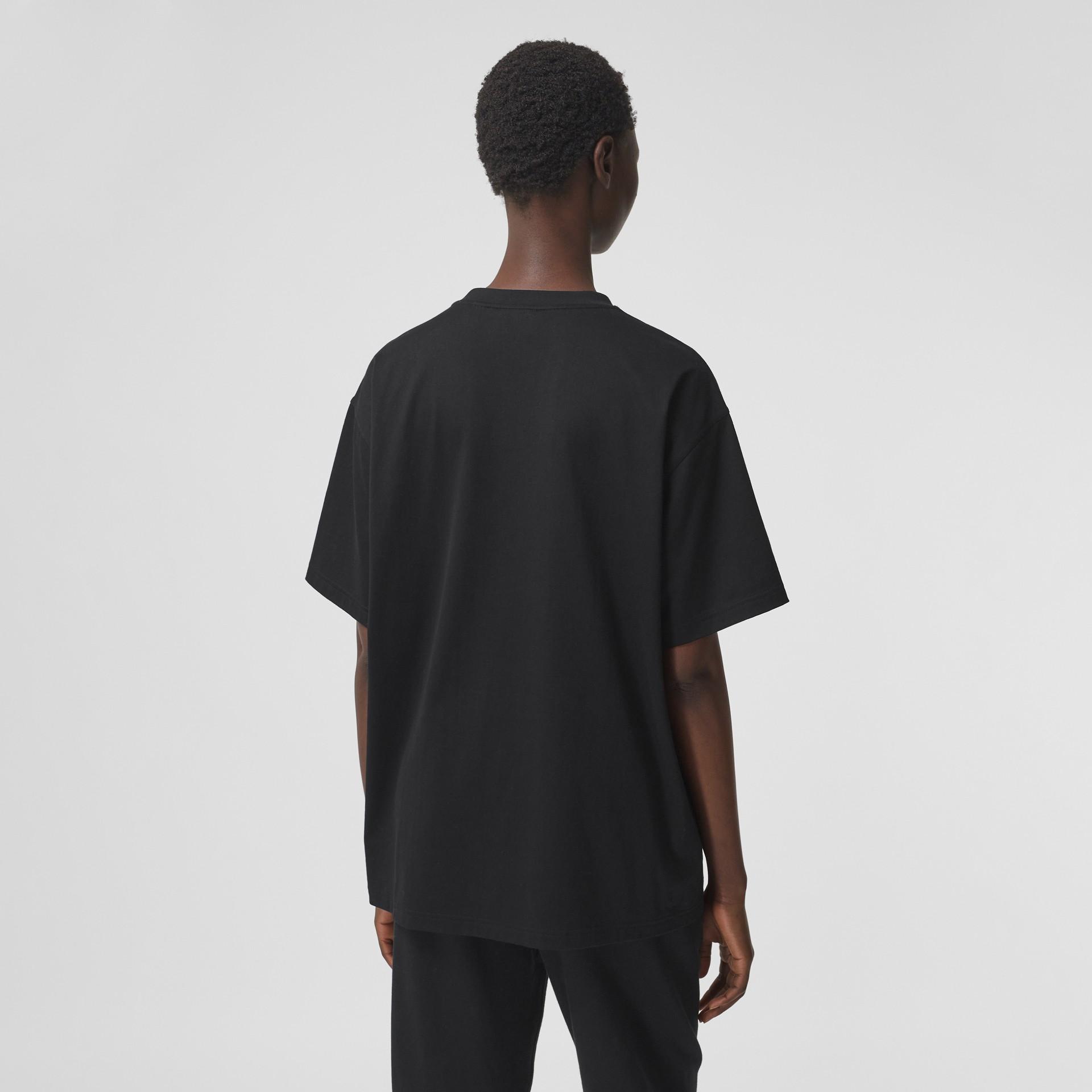 Logo Print Cotton Oversized T-shirt in Black - Women | Burberry - gallery image 2